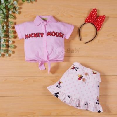 Áo váy bé gái Mickey kèm cài tóc (9 tháng - 6-tuổi)